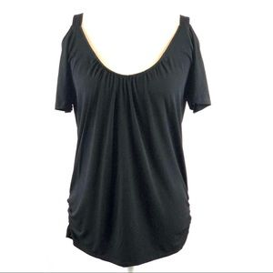 Attention Black Silky Cold Shoulder Ruched Top